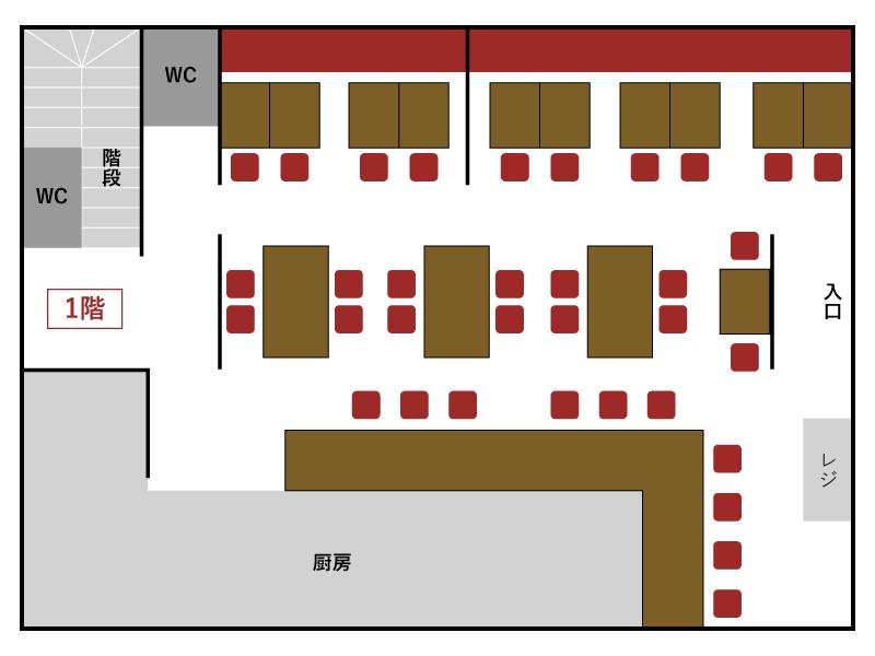 上野とら八 店内マップ1F