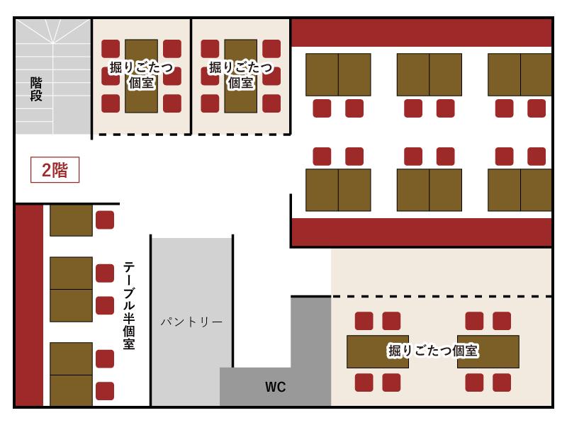 上野とら八 店内マップ2F